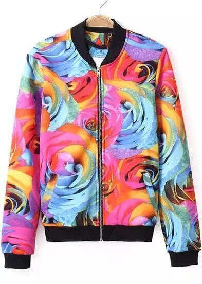 Red Blue Long Sleeve Rose Print Jacket