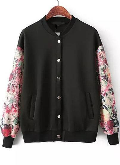 Black Contrast Floral Long Sleeve Pockets Jacket