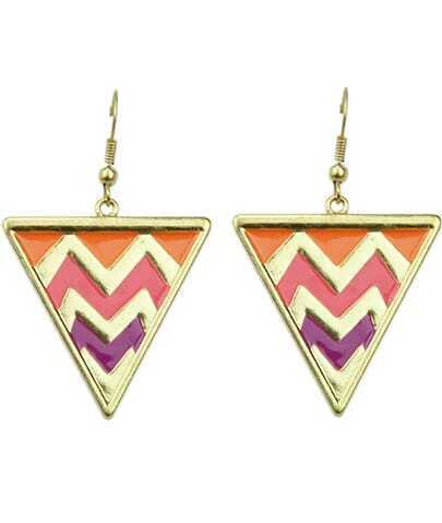Multicolor Glaze Gold Triangle Dangle Earrings