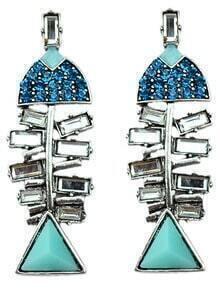Blue Gemstone Silver Fish Earrings