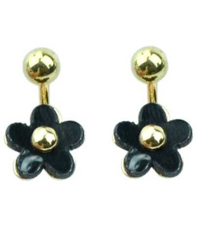 Black Glaze Gold Flower Earrings