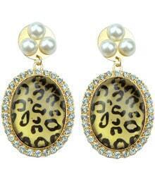Gold Diamond Leopard Pearls Earrings
