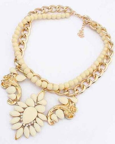White Bead Gemstone Gold Chain Necklace