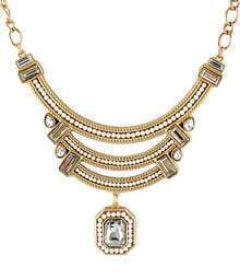 White Gemstone Gold Bead Chain Necklace