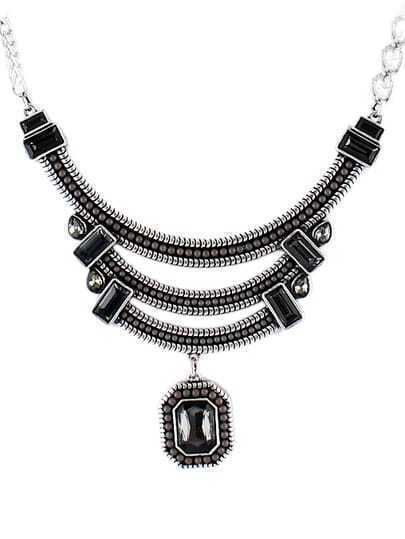 Black Gemstone Silver Bead Chain Necklace