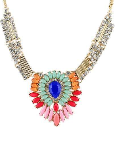 Multicolor Drop Gemstone Gold Diamond Necklace
