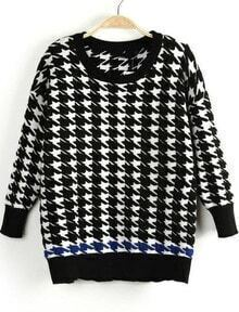 Black Long Sleeve Houndstooth Knit Sweater
