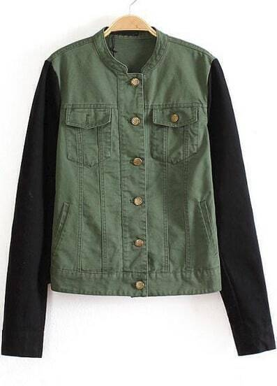 Army Green Long Sleeve Pockets Buttons Jacket