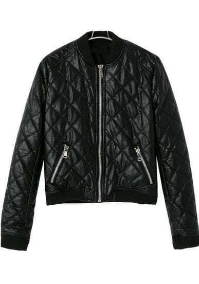 Black Long Sleeve Diamond Patterned Jacket