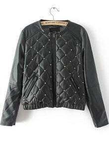 Black Long Sleeve Rivet Diamond Patterned Jacket