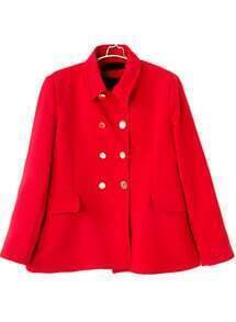 Red Lapel Long Sleeve Double Breasted Coat