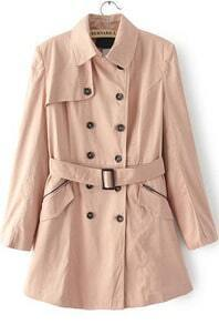 Apricot Lapel Long Sleeve Double Breasted Trench Coat