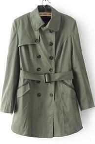 Green Lapel Long Sleeve Double Breasted Trench Coat