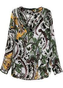 Green V Neck Long Sleeve Floral Blouse