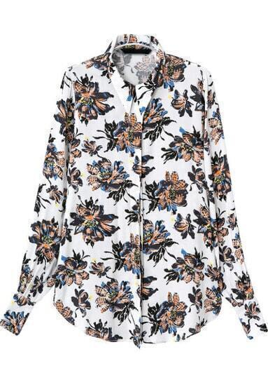 White Lapel Long Sleeve Floral Slim Blouse