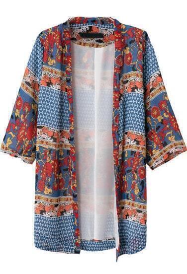 Blue Half Sleeve Vintage Floral Kimono