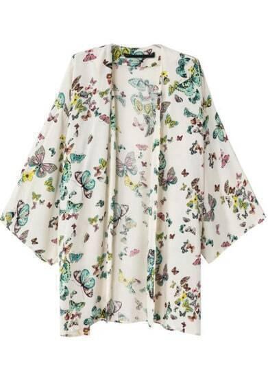 White Long Sleeve Butterfly Print Kimono