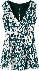 Green V Neck Sleeveless Floral Jumpsuit