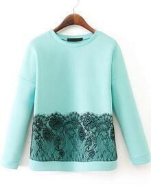 Green Long Sleeve Contrast Lace Sweatshirt
