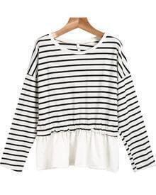 Black White Long Sleeve Striped T-Shirt