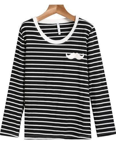 Black Long Sleeve Striped Moustache T-Shirt