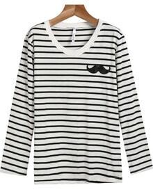 White Long Sleeve Striped Moustache T-Shirt