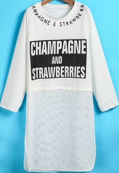 White Long Sleeve Letters Print Gauze T-Shirt