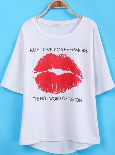 White Short Sleeve Lip Print Loose T-Shirt