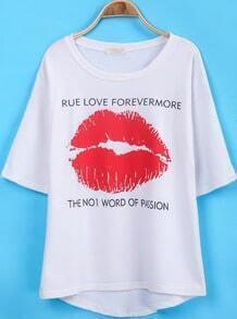 White Short Sleeve Lip Print Loose T-Shirt