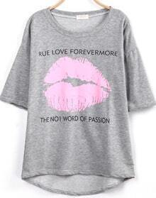 Grey Short Sleeve Lip Print Loose T-Shirt