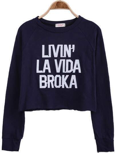 Navy Long Sleeve Letters Print Crop T-Shirt