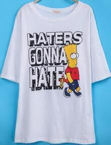 White Short Sleeve Simpson Letters Print T-Shirt