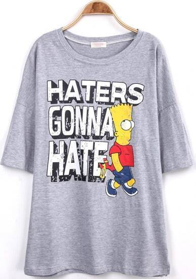 Grey Short Sleeve Simpson Letters Print T-Shirt