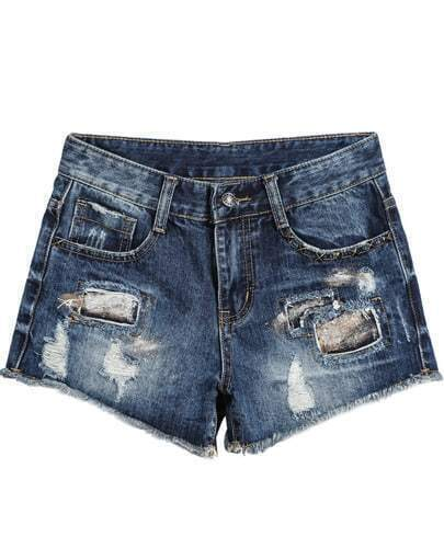 Blue Bleached Ripped Pockets Denim Shorts