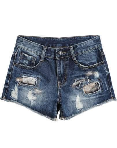Blue Bleached Ripped Pockets Denim Shorts