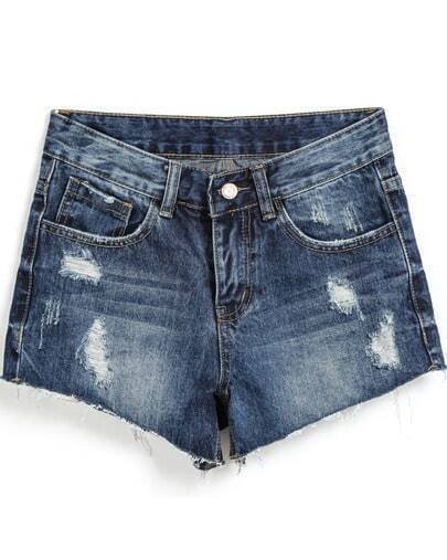 Blue Ripped Bleached Denim Shorts