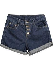 Navy Flange Buttons Denim Shorts
