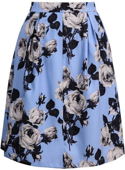 Blue High Waist Rose Print Skirt