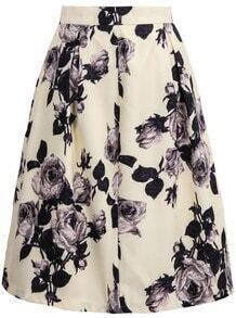 Yellow High Waist Rose Print Skirt
