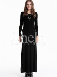 Black Long Sleeve Side Split Maxi Dress