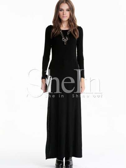 Black Long Sleeve Side Split Maxi Dress