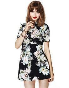 Black Short Sleeve Floral Print Backless Dress