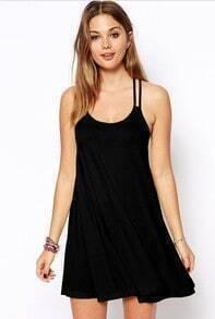 Black Sleeveless Spaghetti Strap Backless Dress