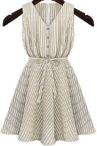 Apricot V Neck Sleeveless Striped Dress