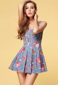 Blue Sleeveless Floral Pleated Tank Dress