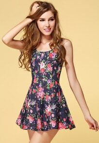 Black Sleeveless Floral Pleated Tank Dress