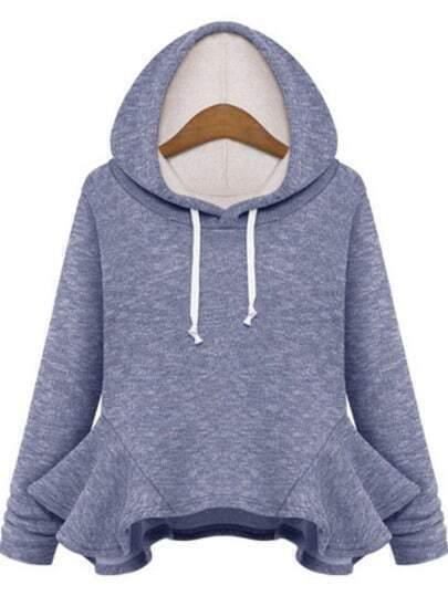 Blue Hooded Long Sleeve Ruffle Sweatshirt