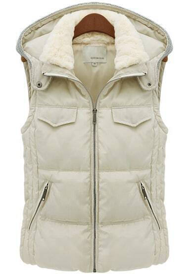 Ivory Hooded Sleeveless Slim Pockets Coat