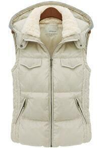 Ivory Hooded Sleeveless Slim Pockets Coat