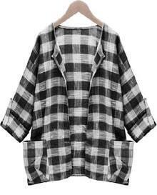 Black Long Sleeve Plaid Pockets Coat